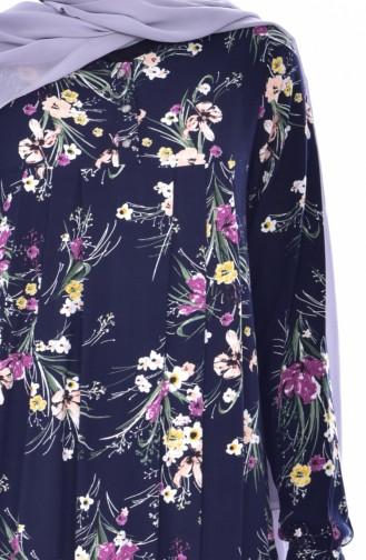 Blumen Gemustertes Kleid 4021-03 Dunkelblau 4021-03