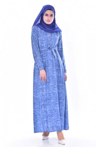 Buttoned Dress 4022-03 Blue 4022-03