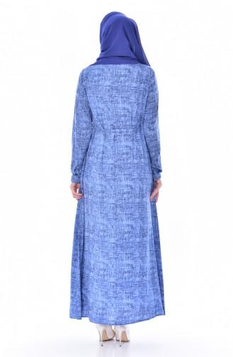 Düğmeli Elbise 4022-03 Mavi 4022-03