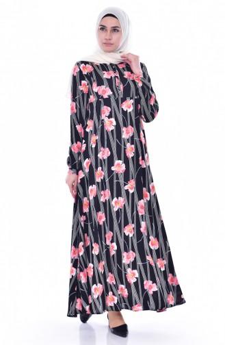 Blumen Gemustertes Kleid 4020-01 Schwarz Koralle 4020-01