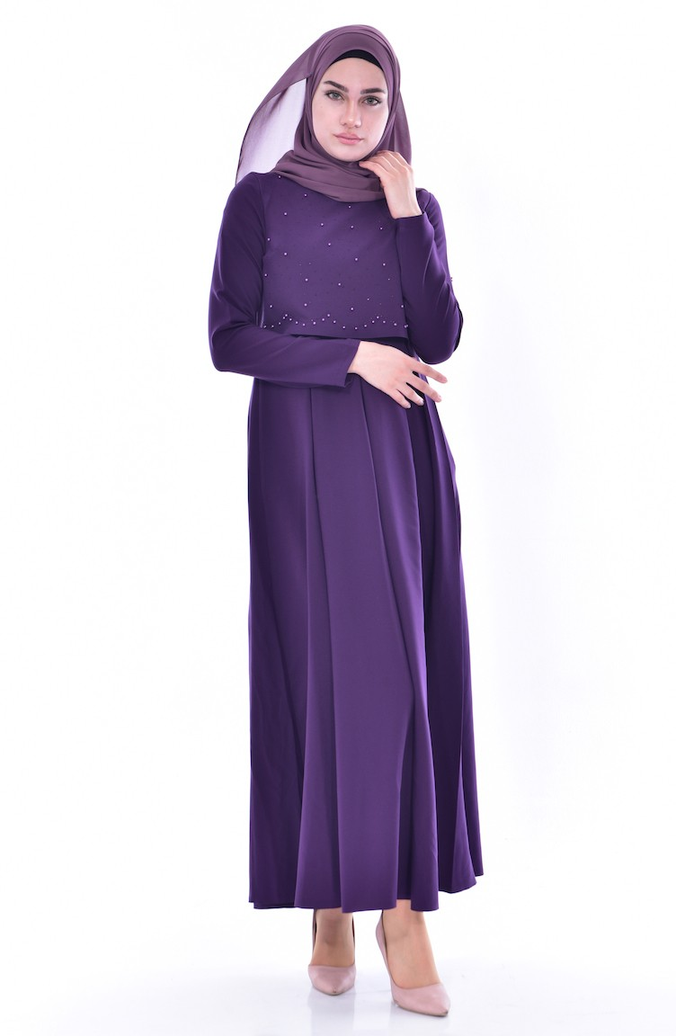 b2718fb3bcb73 ZEN Pearls Pleated Dress 4055-01 Purple 4055-01