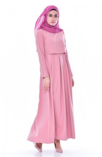 زين فستان بتصميم طيات مُزين باللؤلؤ 4055-03 لون وردي 4055-03