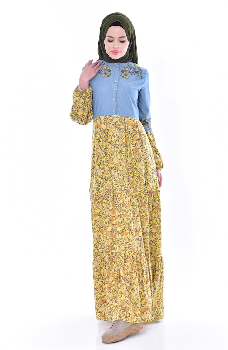 Yellow Dress 1917 03 Shoes With Embroider Blue 12 Inchi