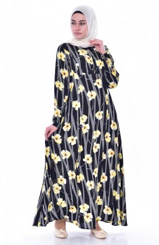 فستان بتصميم مورّد 4020-03 لون اسود واصفر 4020-03