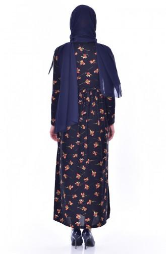 Çiçek Desenli Elbise 3670K-01 Lacivert Yeşil