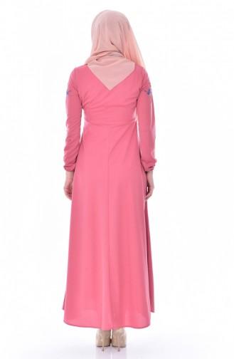 Robe Bordée 0522-04 Rose Pâle 0522-04
