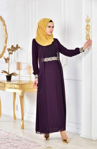 فستان سهرة شيفون مُزين بالدانتيل52622-09 لون بنفسجي داكن 52622-09