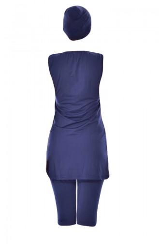Armloser Hijab Badeanzug mit Patchwork 178-02 Dunkelblau 178-02