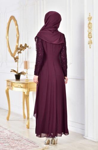 Brooch Detailed Chiffon Evening Dress 52651-09 Plum 52651-09