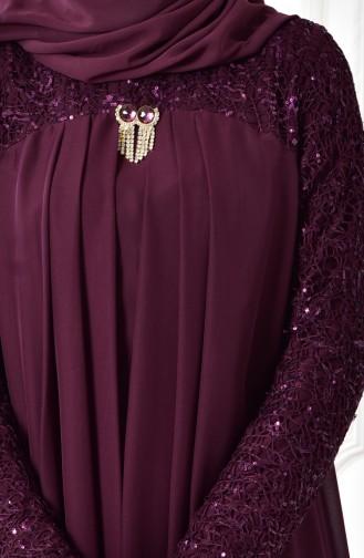 Robe de Soirée Mousseline Détail Broche 52651-09 Plum 52651-09