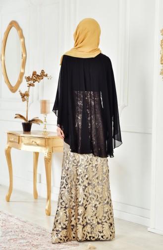 Schwarz Hijab-Abendkleider 8222-03