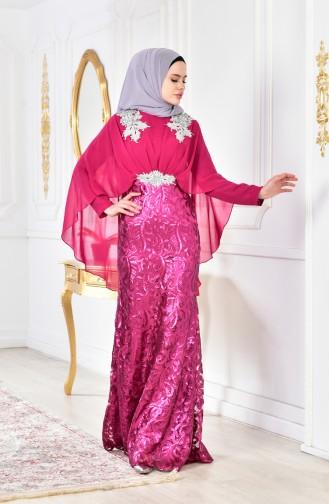 Abendkleid mit Pailetten 8222-02 Fuchsia 8222-02