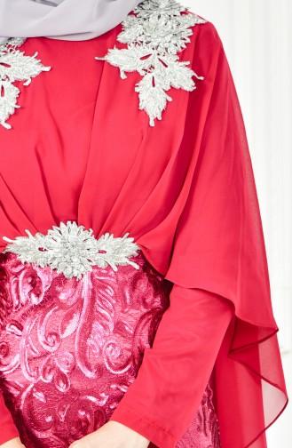 فستان يتميز بتفاصيل من الترتر 8222-02 لون فوشي 8222-02