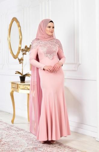 Guipure Evening Dress 4010-03 Powder 4010-03