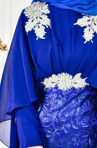فستان يتميز بتفاصيل من الترتر 8222-05 لون ازرق 8222-05