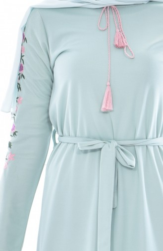 Sleeve Embroidered Dress 3844-04 Water Green 3844-04