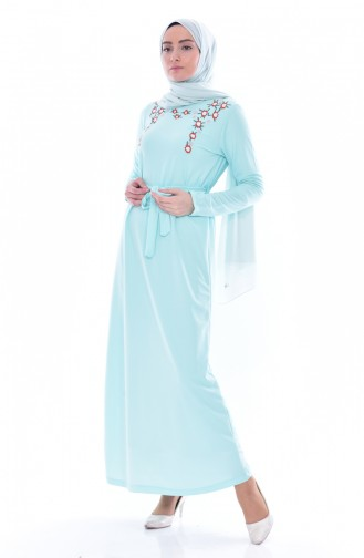 Embroidered Dress 3846-06 Water Green 3846-06