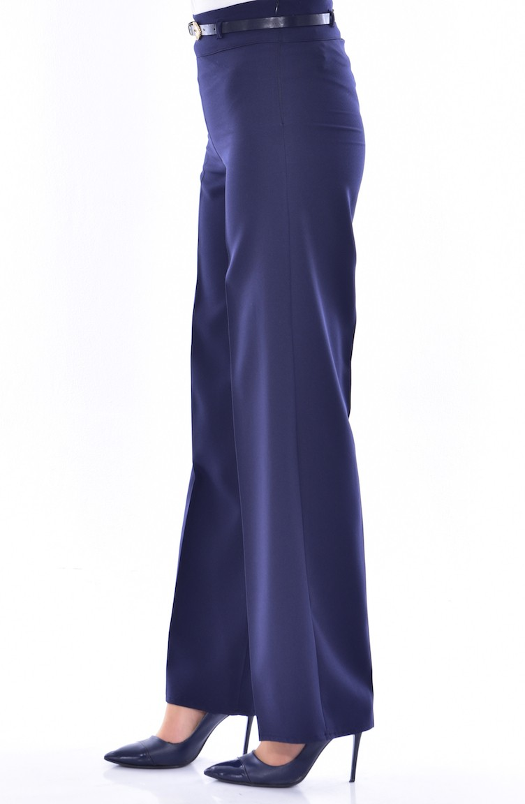 12af6c4838e4 Belted Wide Leg Pants 6000-07 Navy Blue 6000-07