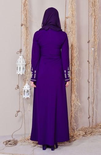 Sefamerve Kleid mit Stickerei 8001-04 Lila 8001-04