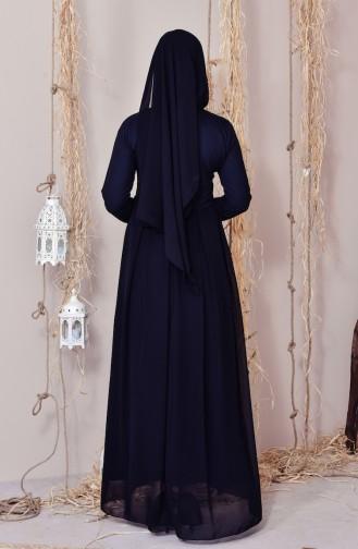 Robe de Soirée a Rayure Mousseline 5031-02 Noir 5031-02