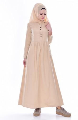 Beige Hijab Dress 7281-14