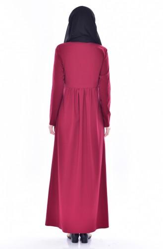 Beli Büzgülü Elbise 7184-02 Bordo