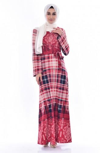 Kleid mit Seiten Schnürer 6022-04 Weinrot 6022-04