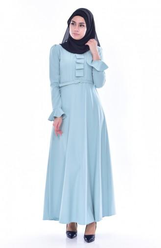 Kemerli Elbise 1084-07 Çağla Yeşil 1084-07