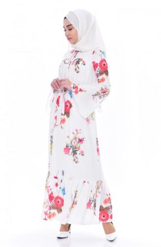 Gemustertes Kleid mit Gürtel 8175-01 Naturfarbe 8175-01