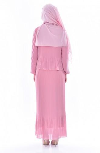 Gefaltetes Kleid mit Halskette 2532-03 Rosa 2532-03
