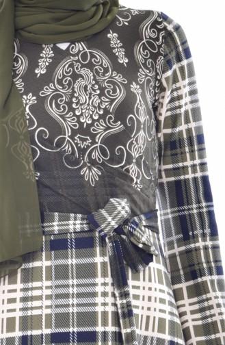 Yandan Bağlamalı Elbise 6022-01 Haki