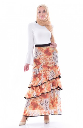 Ruffled Chiffon Skirt 30993-01 Mustard 30993-01