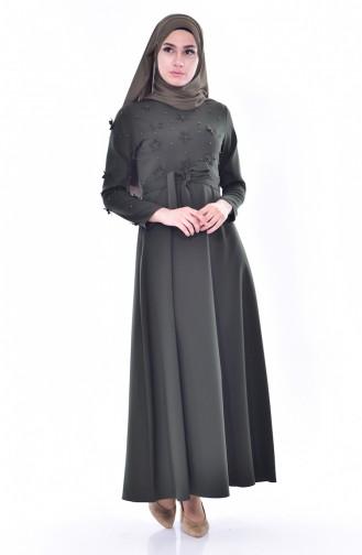 Hijab Kleid mit Gürtel 1085-06 Khaki Grün 1085-06