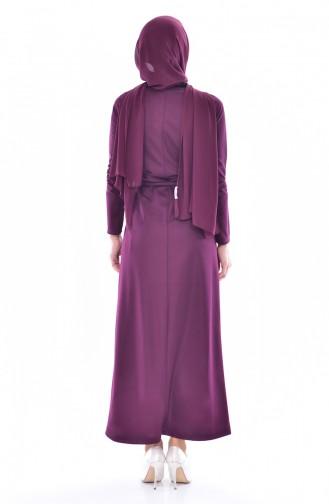 Nakışlı Elbise 3851-05 Mürdüm