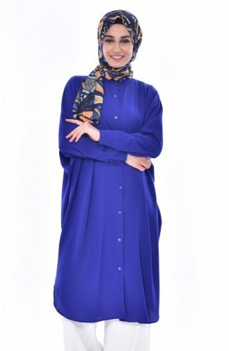 Tunique a Boutons Manches Chauve Souris 1181-06 Bleu Roi 1181-06