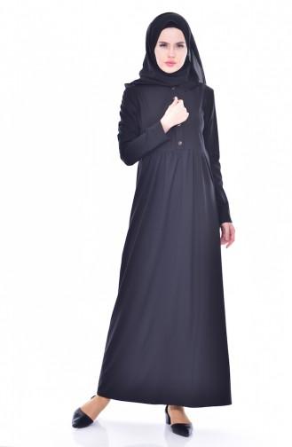 Beli Büzgülü Elbise 7184-01 Siyah