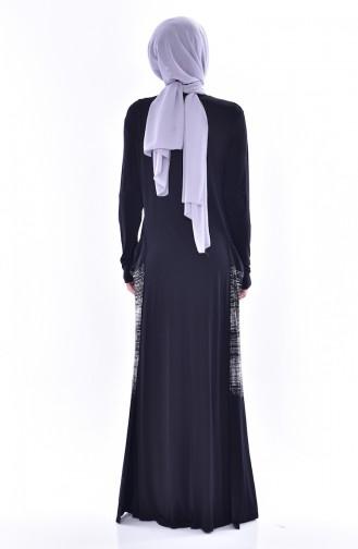 Kleid mit Tasche aus Gekämmte Baumwoll 1069-01 Schwarz 1069-01