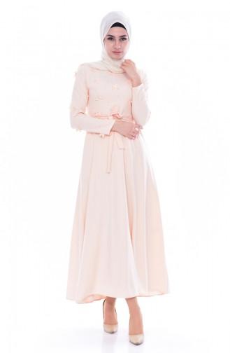 Hijab Kleid mit Gürtel 1085-07 Lachs 1085-07