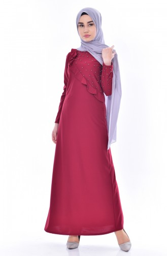 Falbel Kleid mit Perlen 4458-01 Weinrot 4458-01