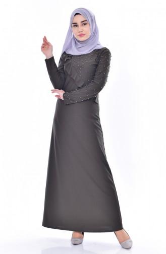 فستان بتفاصيل من الؤلؤ والكشكش 4458-02