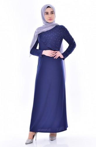 فستان بتفاصيل من الكشكش مُزين بالؤلؤ 4458-06 لون كحلي 4458-06