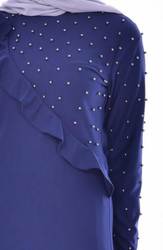 Robe Perlées a Froufrous 4458-06 Bleu Marine 4458-06
