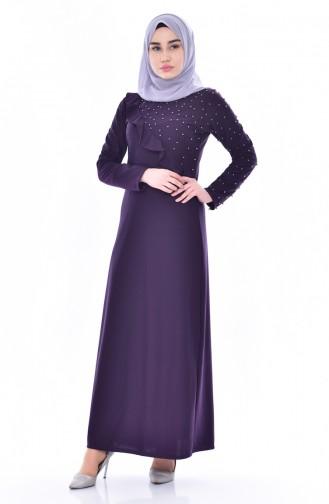فستان بتفاصيل من الؤلؤ والكشكش 4458-03