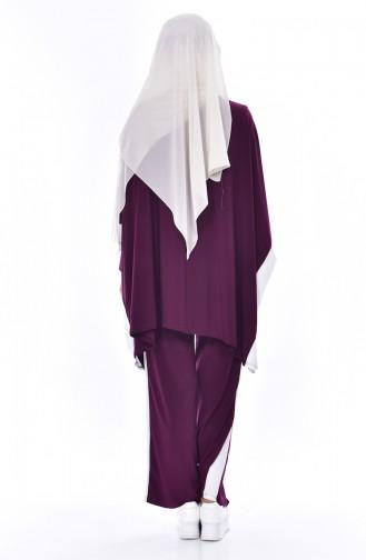 Yanları Şeritli Pantolonlu Takım 1960-02 Mürdüm 1960-02