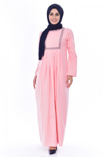 TUBANUR Embroidered Pocket Pleated Dress 2916-15 Powder 2916-15