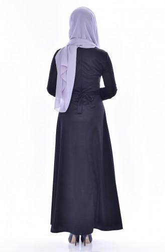 فستان بتصميم حزام للخصر وتفاصيل من الدانتيل  1182-04