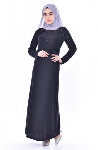 فستان بتفاصيل من الؤلؤ والكشكش 4458-08