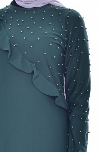 Falbel Kleid mit Perlen 4458-05 Smaragdgrün 4458-05
