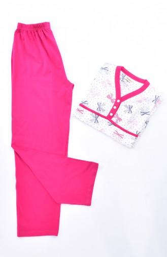 Patterned Women´s Pajamas Suit 1020-01 Fuchsia 1020-01