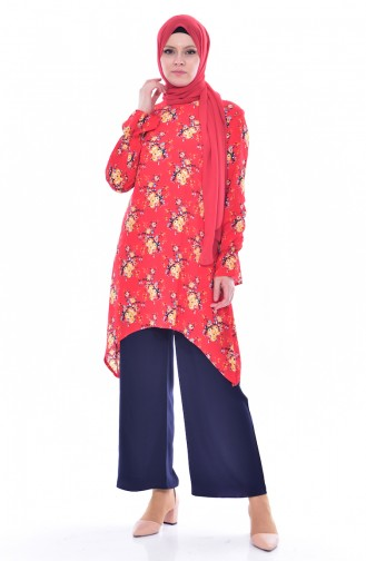 Patterned Tunic Trousers Double Suit 3772-08 Red Navy 3772-08